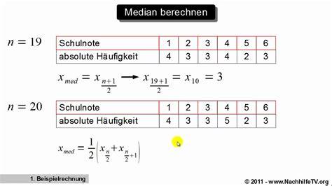 median  quantil berechnen mit absoluten haeufigkeiten
