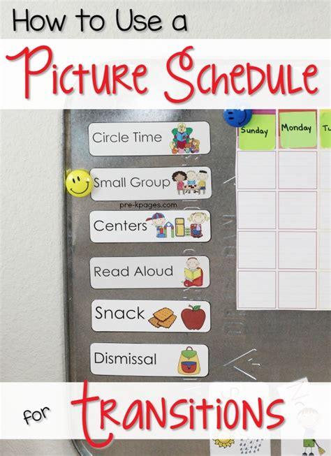 circle time tips for preschool and pre k teachers 711 | Picture Schedule for Preschool and Kindergarten
