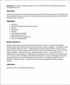 professional life insurance agent templates to showcase With life insurance resume format