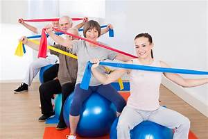 People With Resistance Bands Sitting On Fitness Balls Stock Image - Image of health, retirement ... Balls and Bands