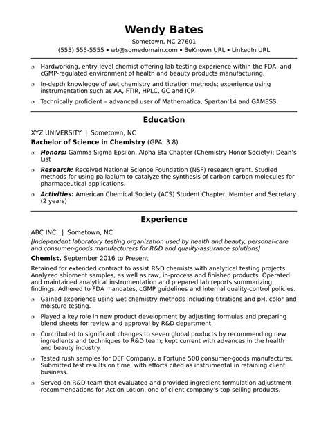 entry level chemist resume sle 49