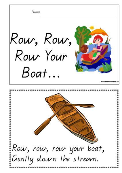 Row Your Boat Menu by Printable Row Row Row Your Boat Concept Book K 3