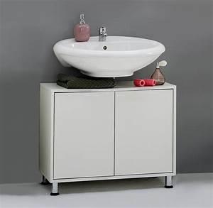 meuble sous lavabo contemporain 2 portes coloris blanc With meuble sous lavabo