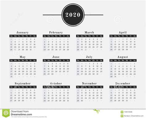 diseno horizontal del calendario de anos ilustracion