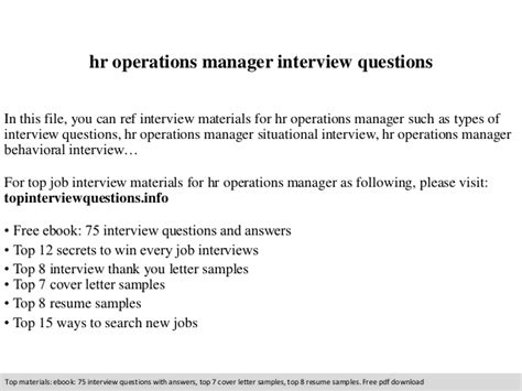 Hr Manager Questions by Hr Operations Manager Questions
