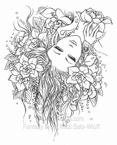 Coloring Pages Fairy Fantasy Adult Printable Wings