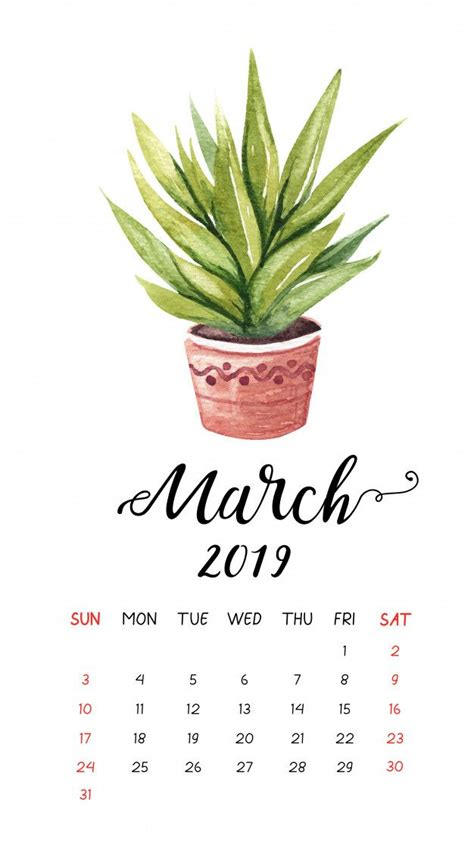 watercolor cactus calendar  march  calendar