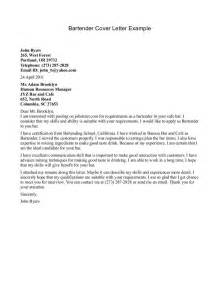 Cover Letter Bartender Cover Letter Templates