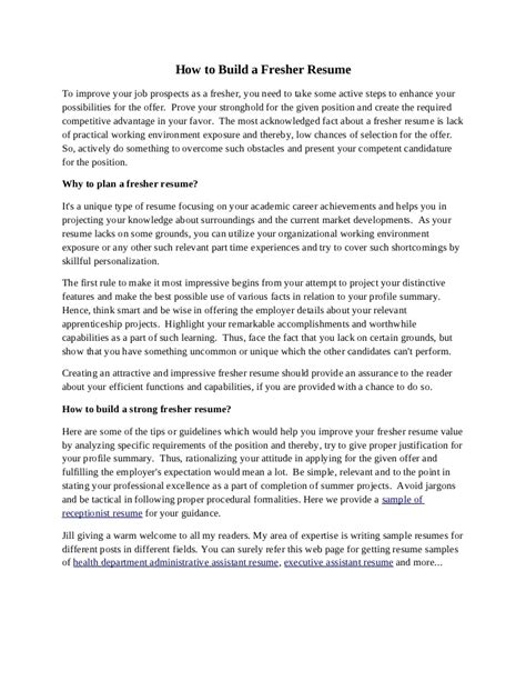 personal statement for resume for freshers how to build a fresher resume