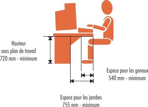 norme hauteur bureau des postes de travail ergonomiques