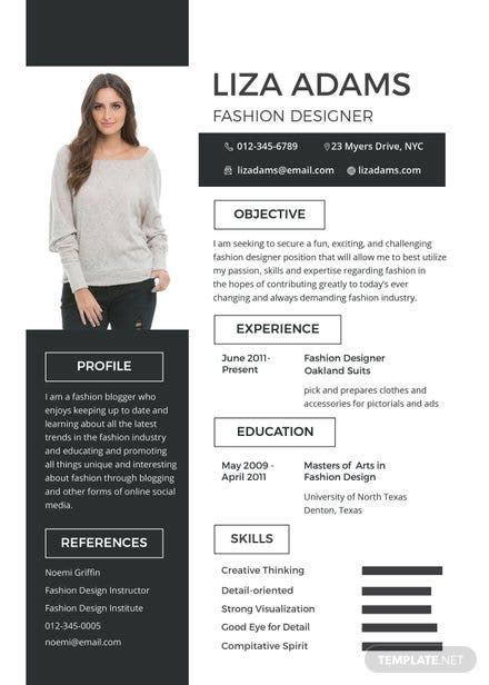 fashion designer resume  cv template