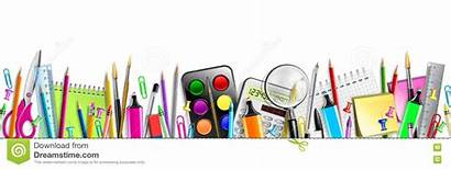 Banner Supplies Background Isolated Education Vector