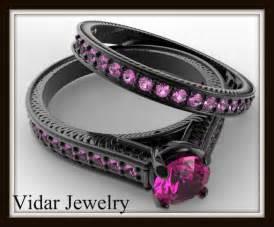 black and pink wedding ring sets black gold bridal ring set vidar jewelry unique custom engagement and wedding rings