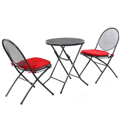 3 pcs folding steel mesh outdoor patio table chair garden
