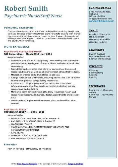 psychiatric nurse resume samples qwikresume