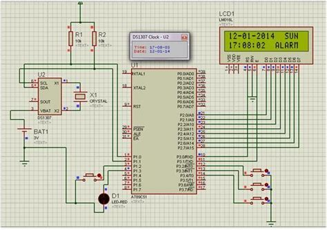 make a real time clock and alarm using 8051 microcontroller and ds1307 rtc module 8051