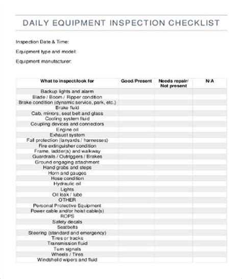 Construction Equipment List Template by Equipment Checklist Template 12 Free Word Pdf