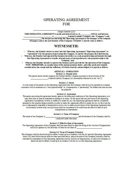 professional llc operating agreement templates