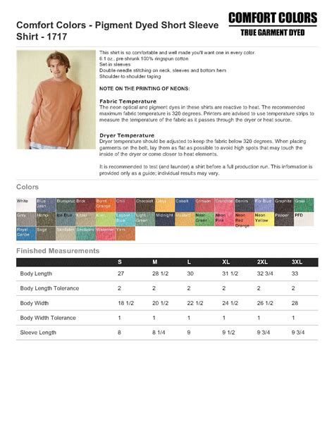 comfort colors size chart comfort colors 1717 pigment dyed sleeve shirt 5