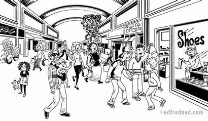 Mall Drawing Scene Chapter Illustration Dangerous Situations
