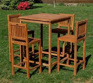 Bartisch Set Holz : xl bar set teak bartisch bistrotisch stehtisch 80x80cm mit 4x barhocker holz modell jav bima ~ Indierocktalk.com Haus und Dekorationen