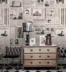 Papier Peint Style Industriel : papier peint journal et pages de livres conseils d co ~ Dailycaller-alerts.com Idées de Décoration
