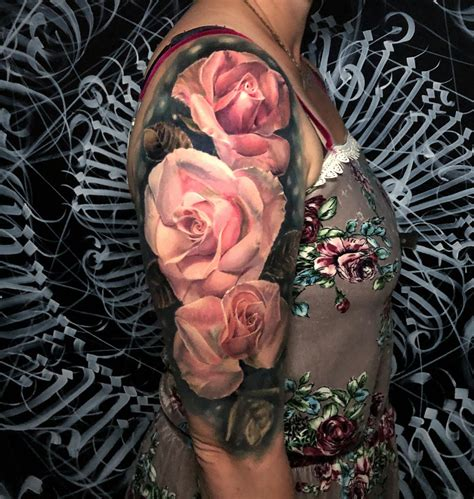 realistic pink roses  sleeve  tattoo design ideas