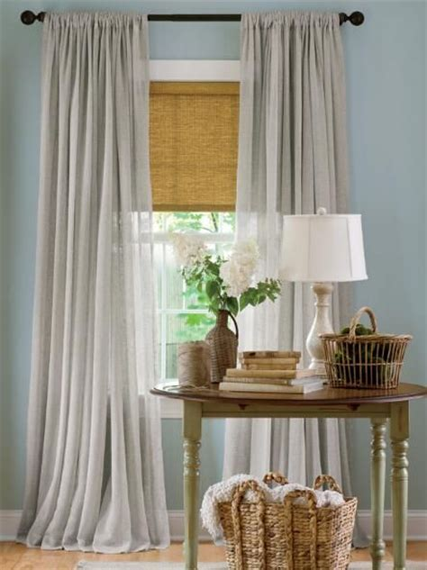 grey sheer linen rod pocket curtains country curtains
