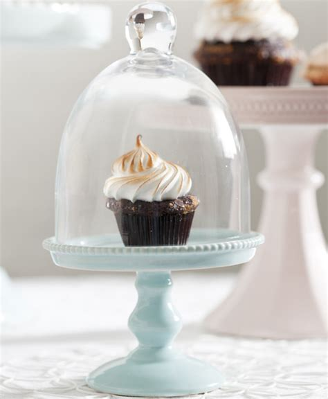 small blue porcelain cupcake stand  glass dome
