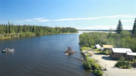 Modern Fishing Boat In India by Fish Wheel From Cruise Ship On Remote River Near Fairbanks