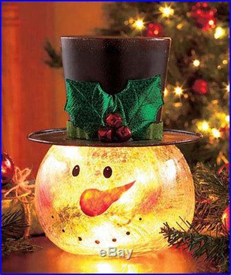 crackle glass snowman light  christmas holiday table