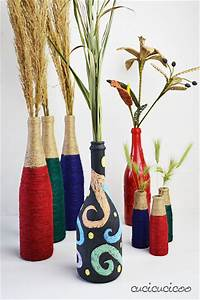 Wine bottle crafts: 2 upcycled vases with materials you