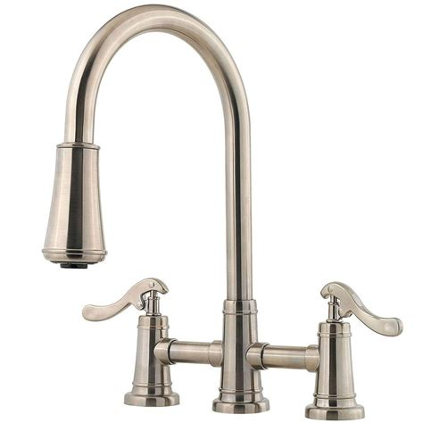 two handle kitchen faucet with sprayer pfister ashfield 2 handle pull down sprayer kitchen faucet in brushed nickel lg531 ypk the