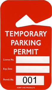 2 3 4quot x 4 7 8quot plastic temporary parking permit hang tag With hanging parking pass template
