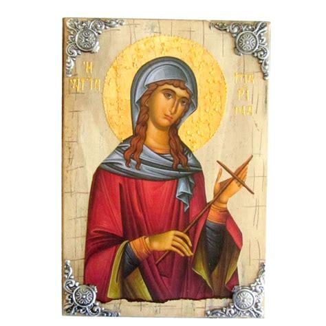Η αγία μαρίνα, γνωστή και ως αγία μαργαρίτα της αντιόχειας στην καθολική εκκλησία ήταν χριστιανή αγία και μάρτυς, που έζησε στα τέλη του 3ου αιώνα μ.χ. ΞΥΛΙΝΗ ΕΙΚΟΝΑ ΑΓΙΑ ΜΑΡΙΝΑ Π16 30x21 cm
