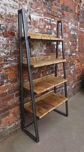 Industrial Chic Reclaimed Custom Trapezium Bookcase Media