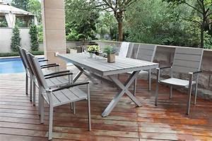 Bernstein gartentisch set alu grau auflage in holzoptik for Garten planen mit balkon alu holzoptik
