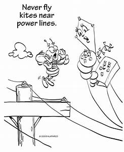 Free coloring pages of electrical safety for Electricity circuits for kids
