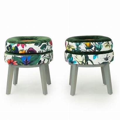 Round Stools Velvet Fabric Patterned Butterfly Floral