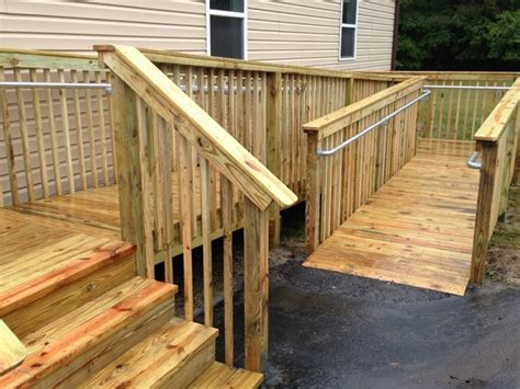 add  railing   wooden access ramp simplified building