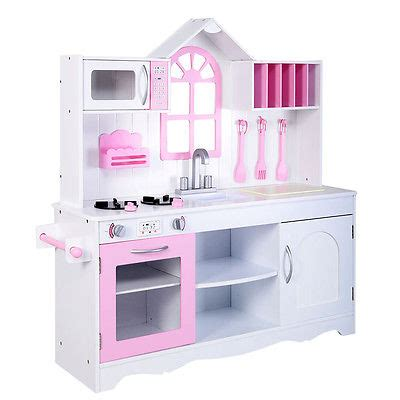 Goplus Kids Wood Kitchen Toy Cooking Pretend Play Set