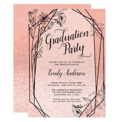 floral rose gold faux glitter graduation party invitation