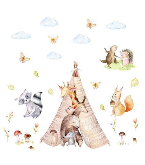 Tipi Bilder Kinderzimmer by 121 Wandtattoo Freunde Im Tipi Zelt B 228 R Giraffe Igel Aquarell