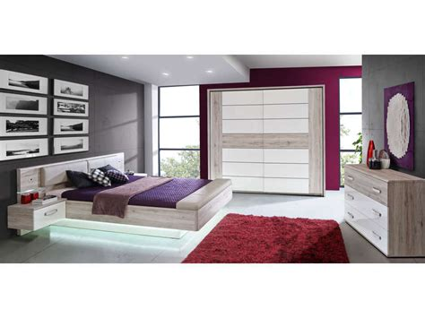 chambre led lit adulte 140x190 cm 2 chevets suspendus led dolce