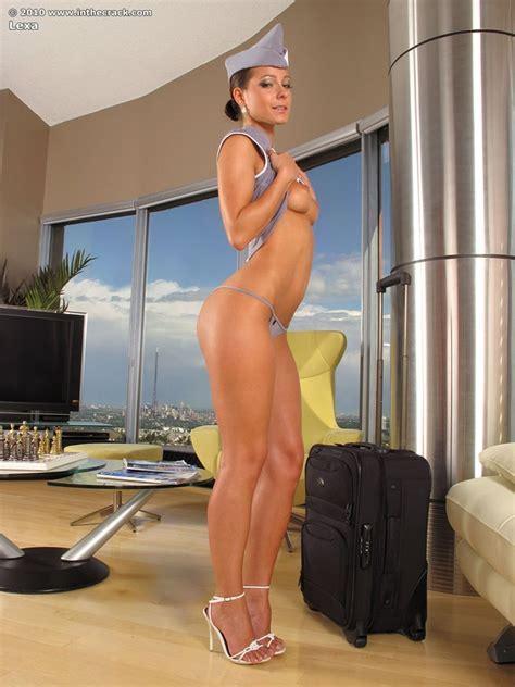 Hot Babe Lexa In Flight Uniform Takes Off Panties For Masturbating Pornpics Com
