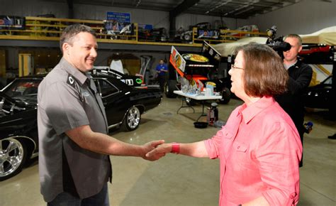 tony stewart hosts  lucky contest winner   garage