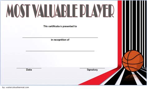 basketball mvp certificate editable templates