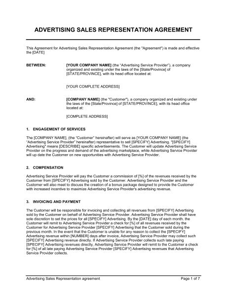 advertising sales representation agreement template
