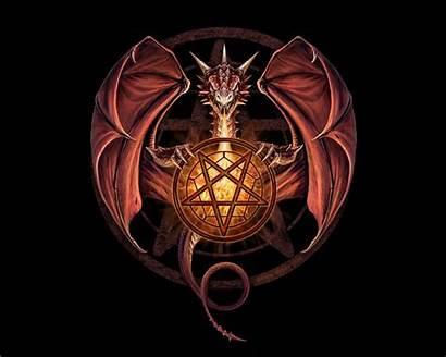 Dragon Pentagram Stokes Anne Fantasy Pentacle Dragons