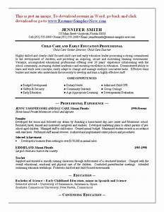 child care resume sample childcare resume jennifer smith With daycare resume examples